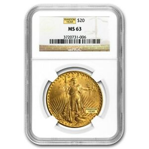 $20 Saint-Gaudens Gold Double Eagle MS-63 NGC (Random Year)