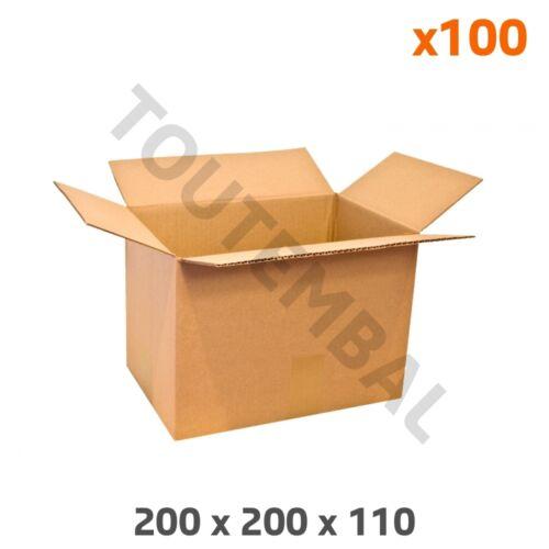 Petit carton d/'emballage en cannelure simple 200 x 200 x 110 mm par 100