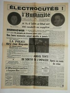 N677 La Une Du Journal L'humanité 20 juin 1953 Eisenhower