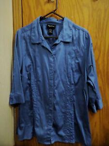 Maggie-Barnes-Womens-Blue-Button-Front-Blouse-Top-Shirt-Plus-Sz-1X