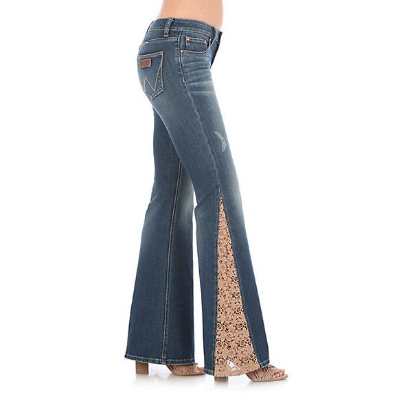 WRANGLER NWT 5 X32 Lace Inset Denim Western Bell Bottom Flare Jeans Hippie Boho