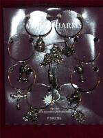 Wine Glass Charms Pewter 8 Pieces With Push Pin Hook In Box