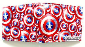 Cartoon-Captain-America-Shield-Wallet-ID-Fenster-2-Kartenschlitz-Zip-Coin-Pocket