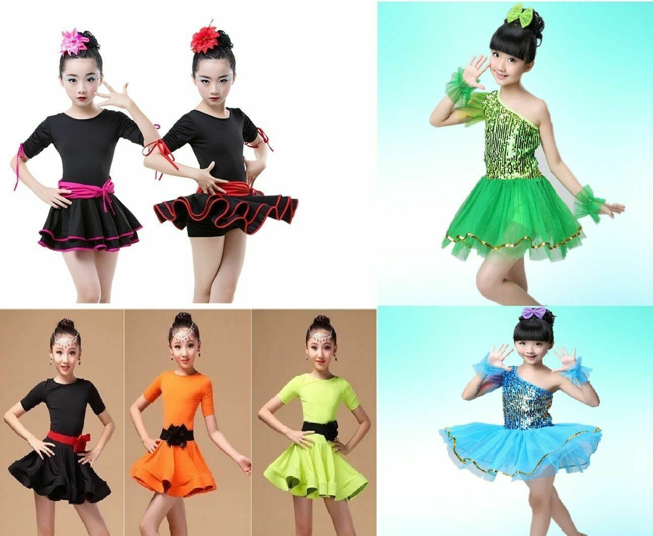 Dance Costumes Ballet Dresses Skirts Dancewear Children Girls Kids 3 - 15 years