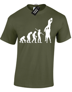 EVOLUTION OF RUGBY LINEOUT MENS T-SHIRT BALL SPORTS 6 NATIONS SCRUM WORLD CUP