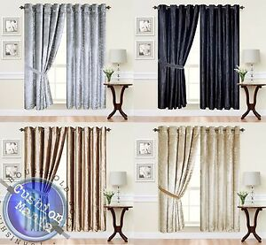 Curtains-Eyelet-Ring-Top-thick-Crushed-Velvet-Ready-Made-fully-Lined-Designer