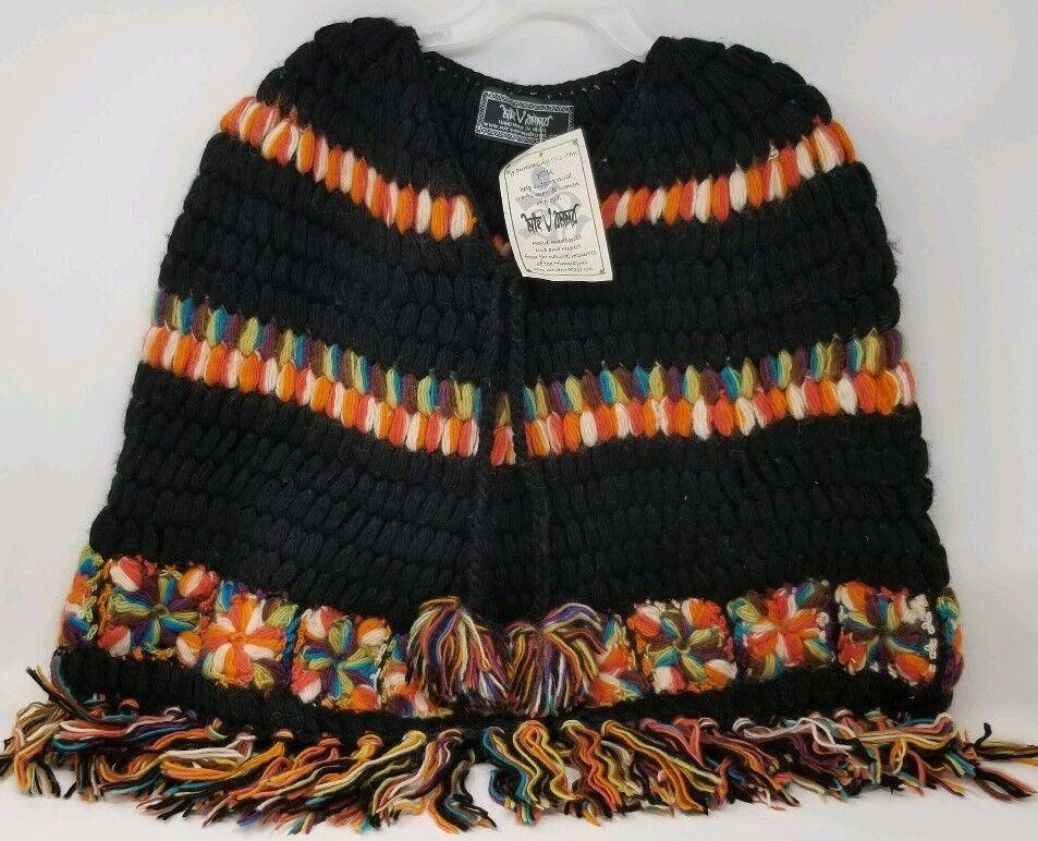 Nirvanna 100% Wool Handmade Shoulder Poncho Nepal NWT Black & Multi - Medium