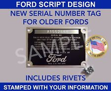 STAMPED FORD DATA PLATE SERIAL TAG VIN ID NUMBER VINTAGE FORD SCRIPT DESIGN USA