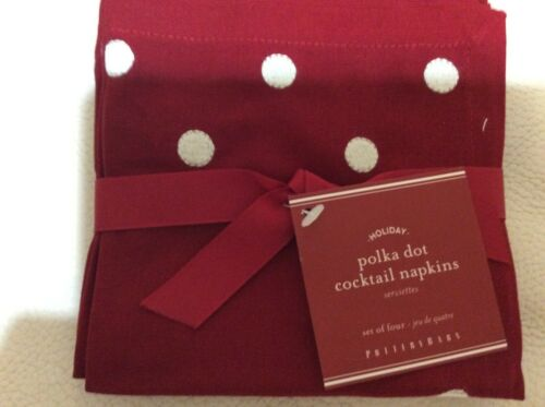 4 Red /& White New Pottery Barn Polka Dot Embroidered Cocktail Napkins Set of