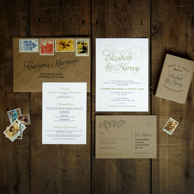 Personalised Baroque Wedding Invitation- Stunning mix of: Gold White Kraft Black