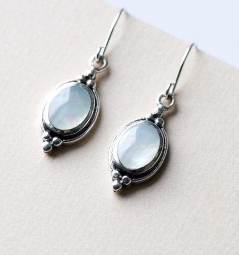 Vintage Style 925 Sterling Silver Oval Shape Dangle Earrings W Mother of Pearl