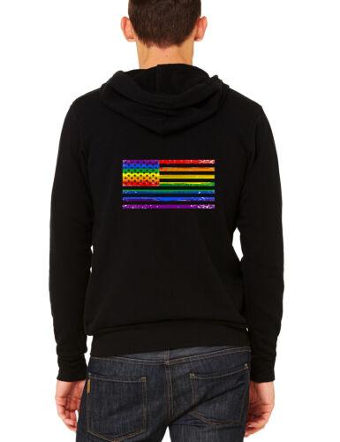Men/'s Rainbow US Gay Flag C9 Black Zipper Hoodie LGBT Lesbian American Love USA