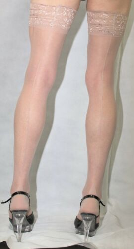 Extra Long Size 15 Denier  Luxury Lace Top French Heel Nude Seamed Satin Hold Up