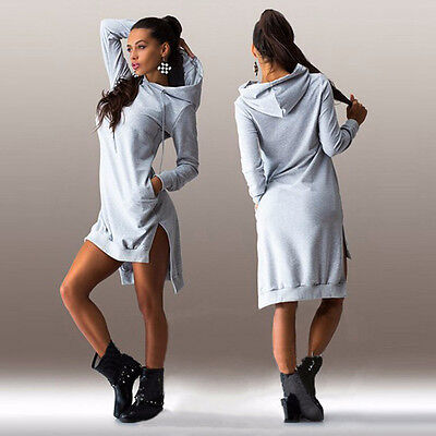 Womens Winter Casual Dress Long Sleeve Hoodie Hooded Jumper Pockets Sweater Tops