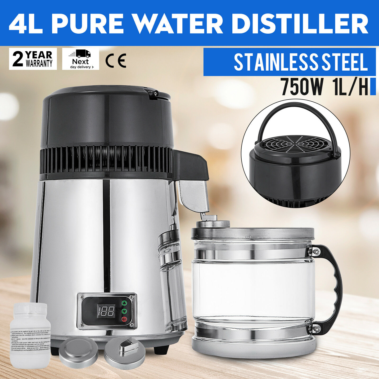 4L Water Distiller Temperature Controlled Premium Countertop Alcohol Purifier