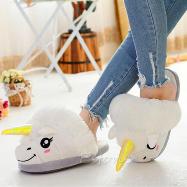 White Soft Cotton Plush Unicorn Slipper Shoe Winter Warm Home Indoor Women New