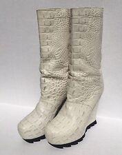 Camilla Skovgaard Sawtooth White Crocodile Leather boot Lady Gaga Euro 40.5 US 9