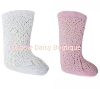 Baby Boys Girls Knee High Pelerine Knitted Pattern Socks Pom Pom 0-24 Months