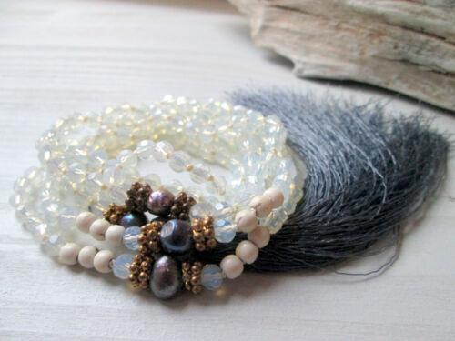 Collar mala collar de perlas cristal perlas malakette lana Statement hippie nuevo
