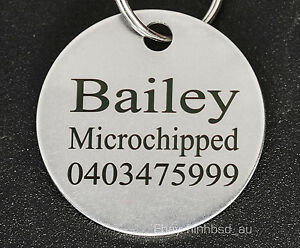 Stainless-Steel-Circle-Pet-Tag-Engraved-amp-ring-Dog-Cat-Name-Personalised-Custom