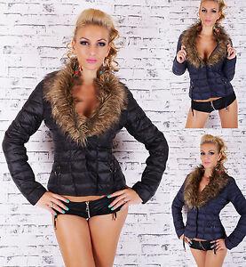 Sexy-femmes-hiver-matelasse-veste-avec-fourrure-synthetique-Taille-UK-8-10-12-14