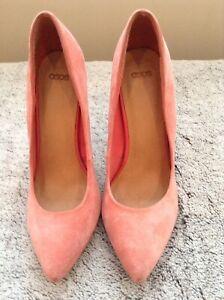 ASOS Pink Suede Platform Court Shoes Size 4,