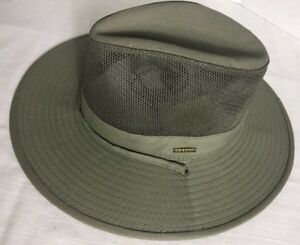 b3af158710b37 Stetson Cool Max Mens Mesh Side Covered Hat Olive Large With Strap ...