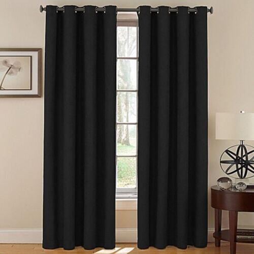 2 BLACK GROMMET PANEL WINDOW CURTAIN LINED 99/% BLACKOUT THERMAL K34 63 84 95 108