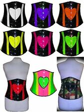 Neon Hot Pink Orange Yellow Green White Purple Red underbust corset Halloween