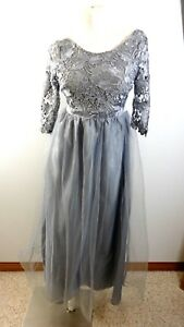 WOMENS-SILVERY-GRAY-LACE-amp-TOILE-FORMAL-GOWN-DRESS-SIZE-S