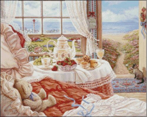 Needlework Embroidery DIY Counted Cross Stitch Kits Afternoon Tea by the Sea