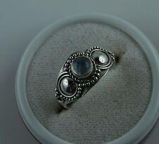 Sterling Silber Ring mit Regenbogen Mondstein  Größe 54  aus Bali