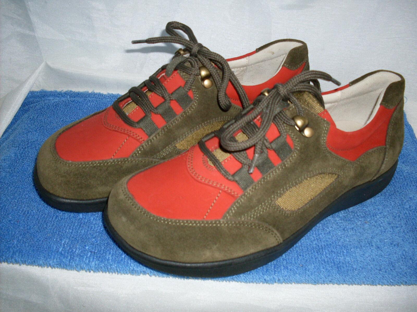 Señora zapato cómodo leonie schnürschuh nuevo talla 36 en en en verde oliva rojo de cuero &  autorización