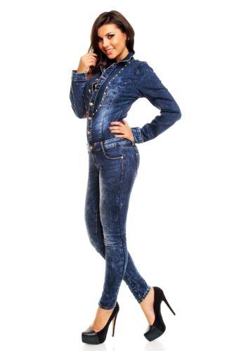 Da Donna Tuta Denim Blu Scuro Wash Skinny Legs Jeans Complessivo Taglia 8 10