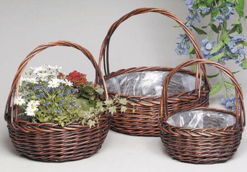Drei Pflanzkörbe runder Korb Satz Weide braun Blumenkörbe mit Bügel und Folie