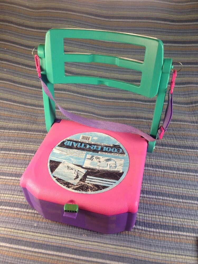 Vtg 1980's Cooler Chair Kitschy Beach Fun Designs Camp Picnic Tailgate Retro