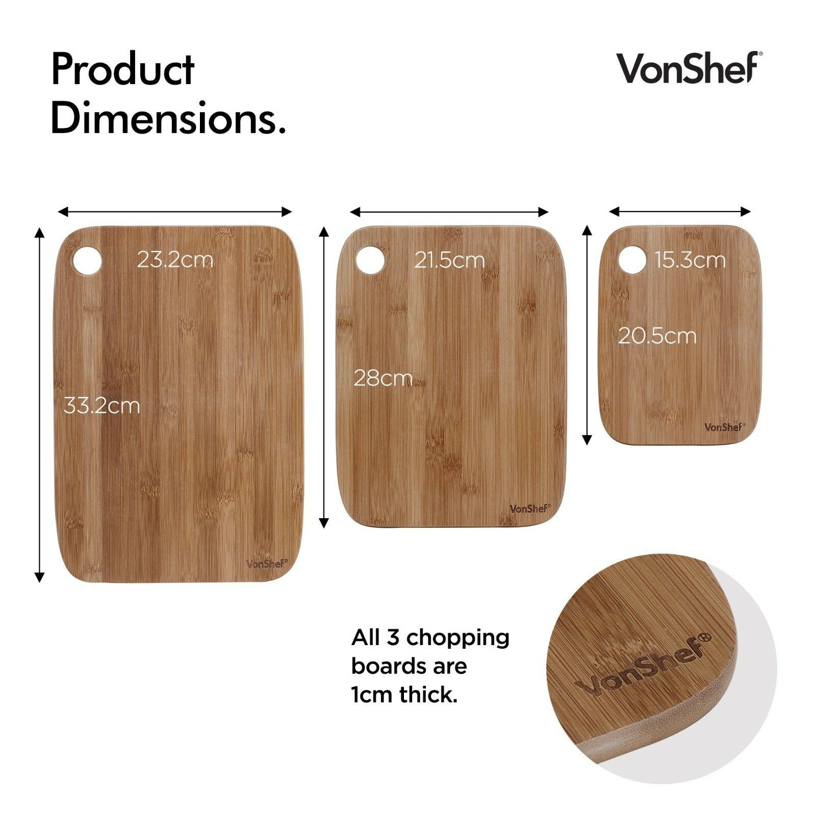 Solid Wooden Chopping Cutting  Board With Metal Handle S M L Set of 3