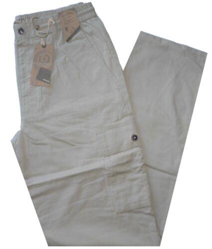Pantalone uomo taglia M L XL XXL XXXL  tasconi cotone  beige SEA BARRIER ISOLA