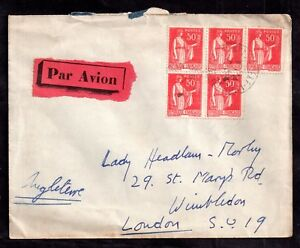 France-1933-multi-stamp-Airmail-cover-to-London-WS7364