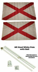 3x5 St. Patrick's Cross 2ply Flag White Pole Kit Gold Ball Top 3'x5'