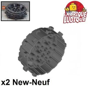 2x roue jante wheel Hard Plastic Cleats flanges foreuse noir 64712 NEUF Lego