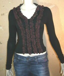 NATHALIE-GARcON-Taille-36-Superbe-haut-top-tee-shirt-court-manches-longues