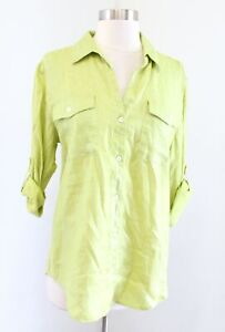 NWT Tommy Bahama Womens Green Foil Utility Button Down Shirt Blouse Size S