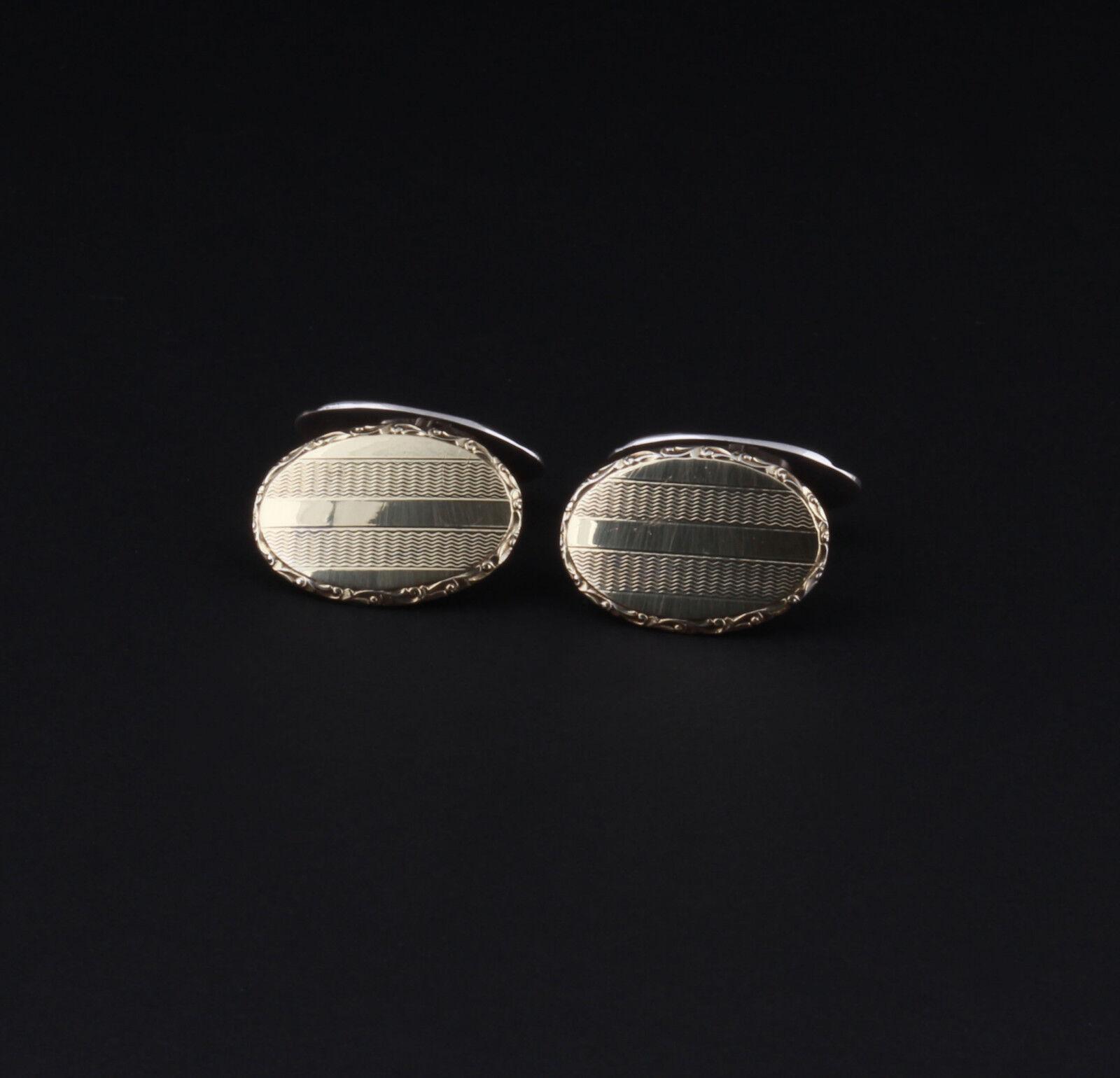 Vintage Art Déco argentoo Sterling Gemelli Camicia con oro oro oro 830 S Prodotto In fe3a1c