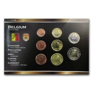 BELGIUM-8-COINS-SET-1-2-5-10-20-50-EURO-CENT-1-2-EURO-1999-2013-UNC