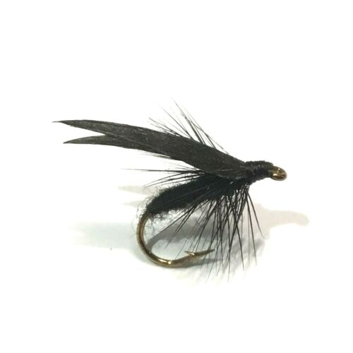 6 x Black Slow Water Caddis Dry Fly Fishing Flies For Trout Salmon
