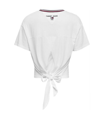 Logo Blanc shirt Tommy Manches Jeans Courtes Femme T wXIcaAnqC