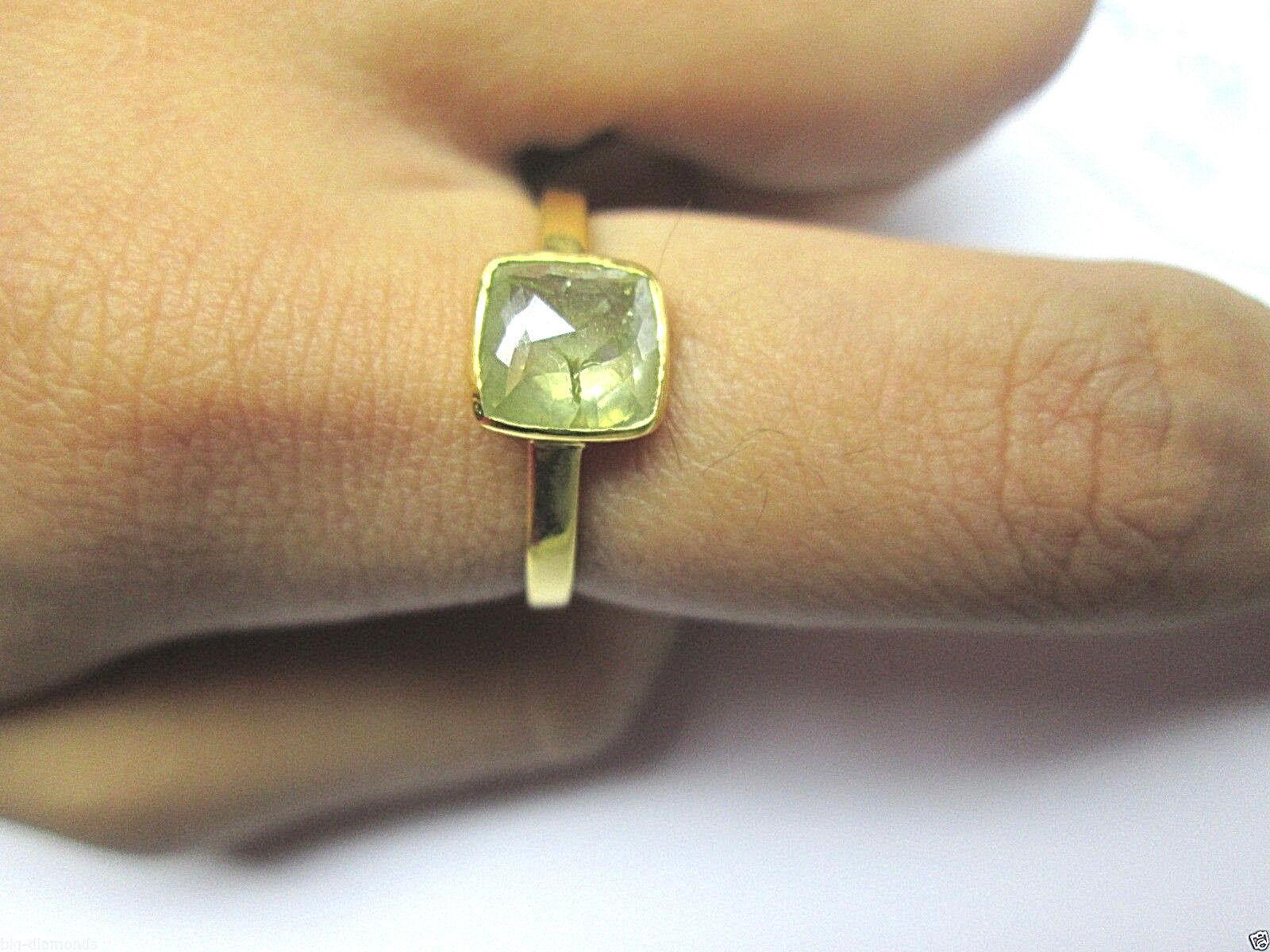 Beautiful Apple Green pink Cut Diamond SI Clarity Cushion Shape Ring 14K