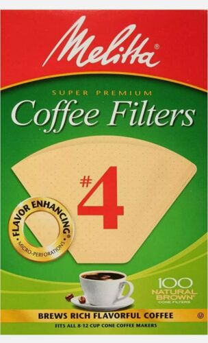 《NEW》100 CT MELITTA SUPER PREMIUM CONE COFFEE FILTERS #4 NATURAL BROWN