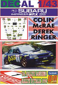 DECAL SUBARU IMPREZA 555 WRC COLIN McRAE RALLYE SANREMO 1998 3rd 05
